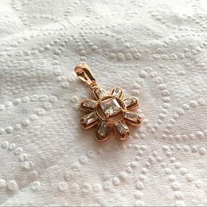 Jewelry - Rose GF pendant snowflake baguette square stone
